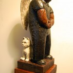 Lim Soo Ngee, Angel with Animal, 2011, 15 x 15 x 42 cm, Painted Woodcarving