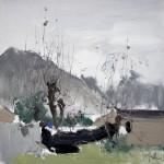 Tree Branches Beneath The Sky, 纤枝劲立, 2015, 60 x 60cm, Oil on Canvas