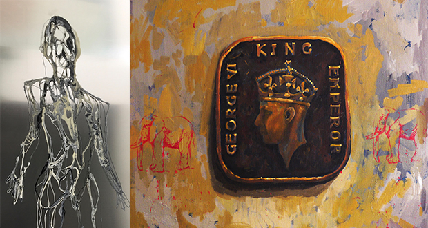 (Left) Howl, 243 x 121.9 cm, 2016, Mixed Media on Aluminium Panel, by Chng Nai Wee (Right) Memorable Recollection – King and Elephants 2, 2015, 50 x 60 cm, Oil on canvas, by Baet Yeok Kuan