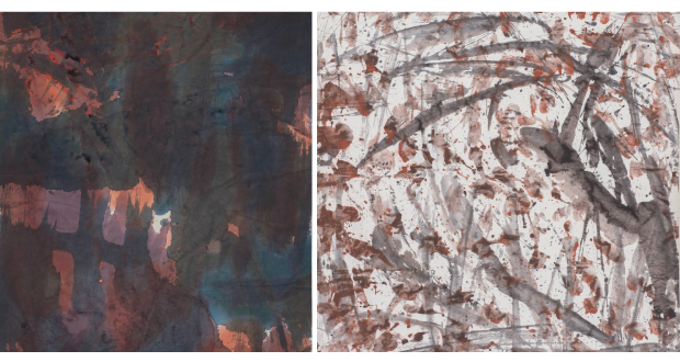 (Left/Partial Image) Untitled, 183 x 97 cm (By Zhuang Shengtao) (Right/Partial Image) Untitled, 104 x 104 cm (By Zhuang Shengtao)